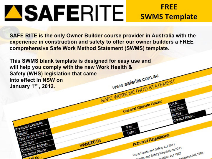 Free SWMS Online Site Safety Plans and Software NSW – Safe Work Method Statement Template Free